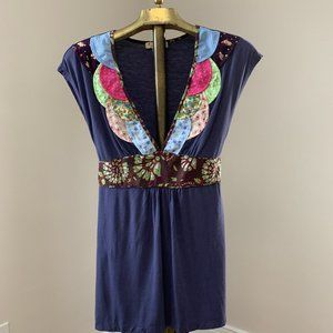 Boho Applique Detail Empire Waist Top